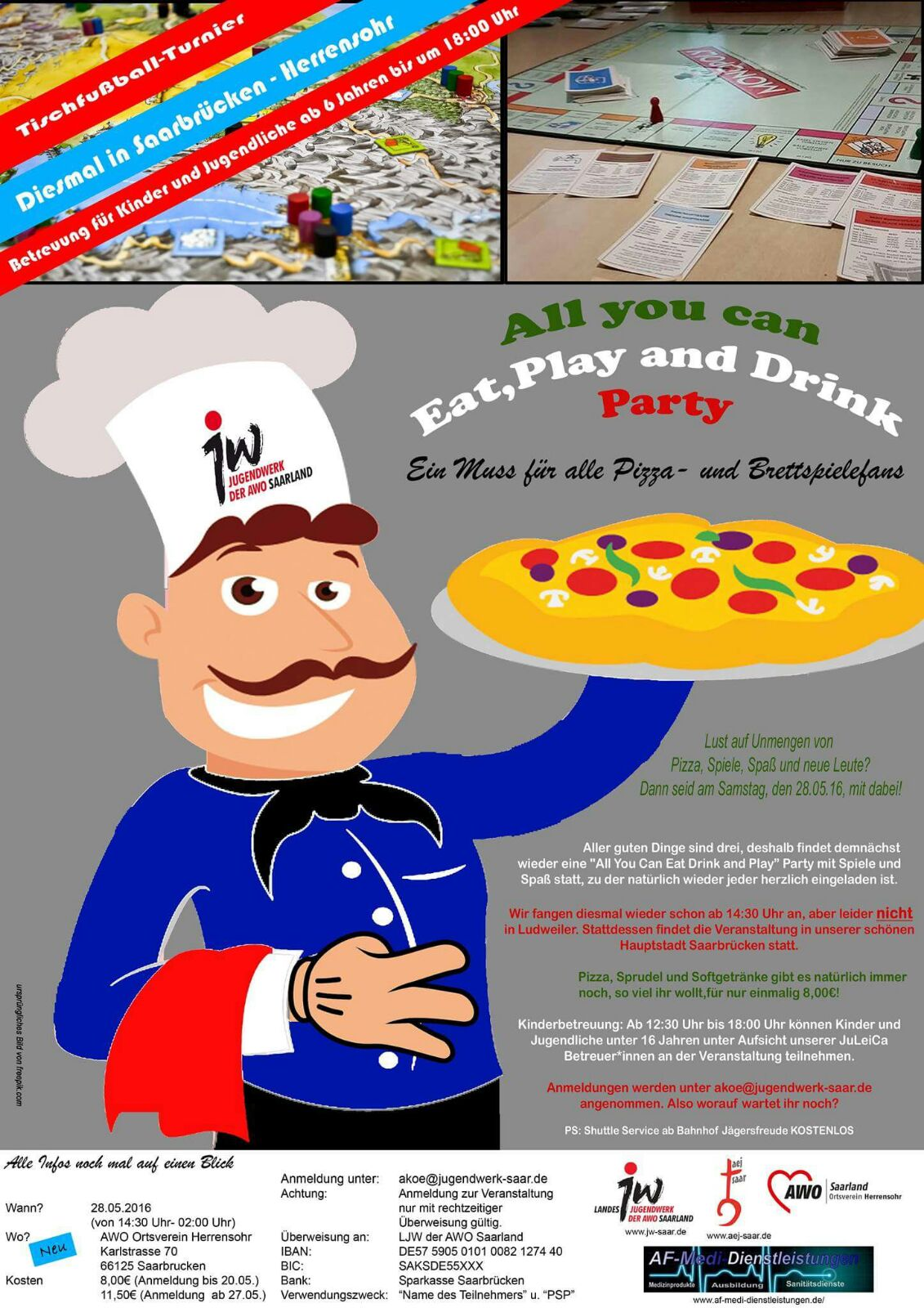 All you can Eat, Drink an Play Pizza-Party – aej saar